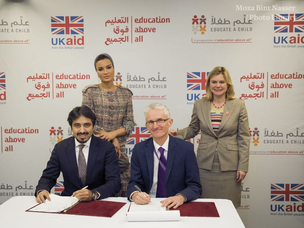 HH Sheikha Moza Witnesses the Signing of an Education Partnership Agreement With the UK Department for International Development