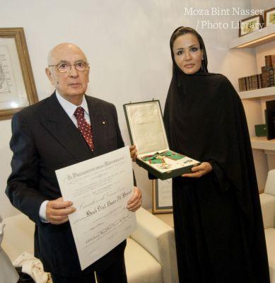 Italian medal conferred on Sheikha Moza