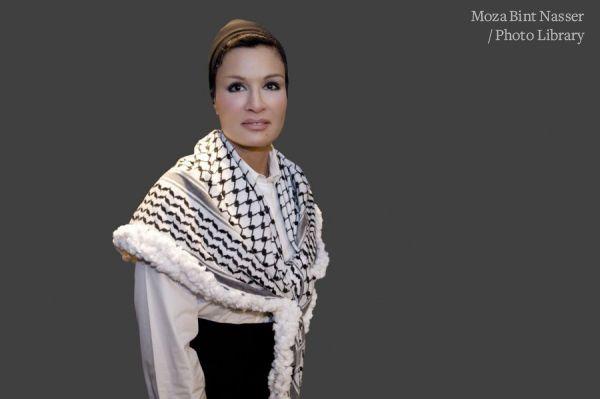 Portrait of HH Sheikha Moza wearing the Palestinian Keffiyeh