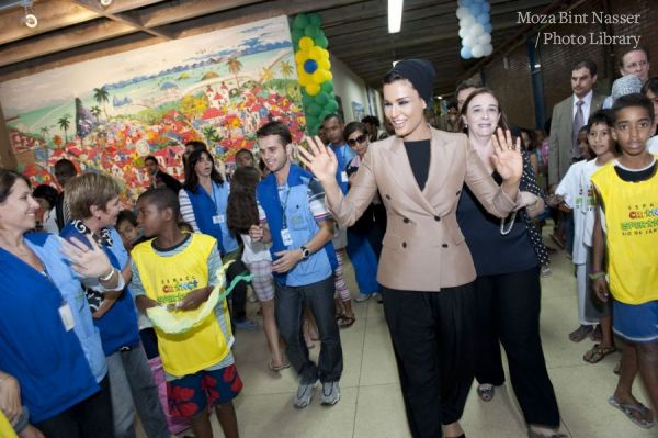 HH Sheikha Moza visits Children's Hope Space in a shantytown complex