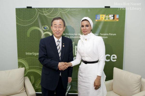 HH Sheikha Moza meets Mr. Ban Ki-moon