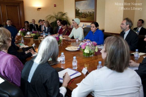 HH Sheikha Moza hosting a meeting of UN agencies and NGO's on ways to strengthen the protection of education under attack