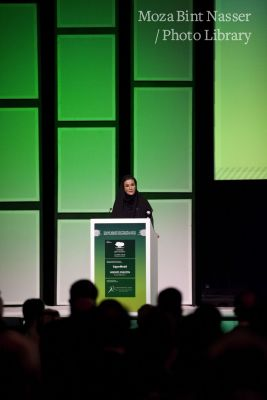HH Sheikha Moza bint Nasser speaking at the QF Annual Research Forum