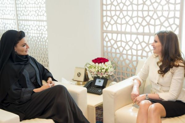 HH Sheikha Moza meets with wife of Albanian President