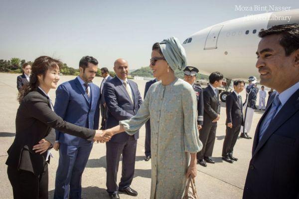 HH Sheikha Moza arrives in South Korea