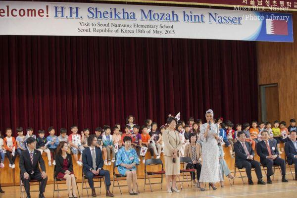 HH Sheikha Moza visits Seoul Namsung Elementary School