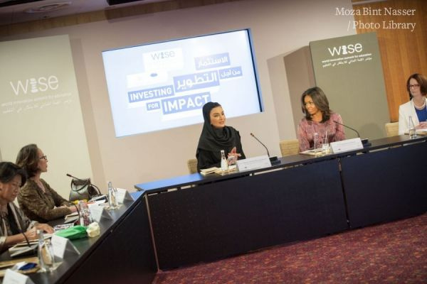 HH Sheikha Moza speaks at WISE high-level roundtable hosted by First Lady of US