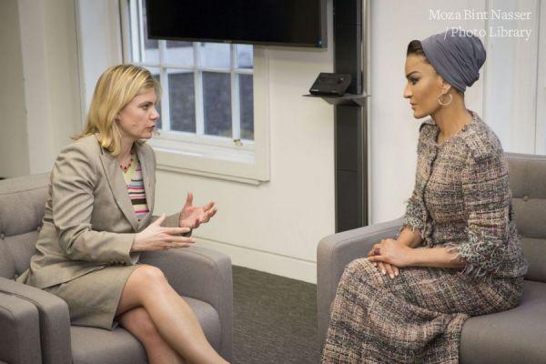 صاحبة السمو الشيخة موزا تشهد توقيع اتفاقية مع ووزارة التنمية الدولية البريطانية