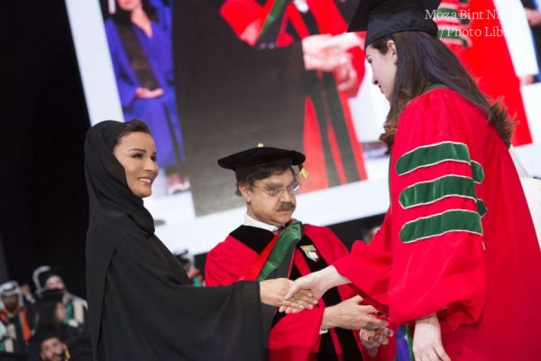Their Highnesses the Father Amir and Sheikha Moza attend Qatar Foundation's Convocation 2016.