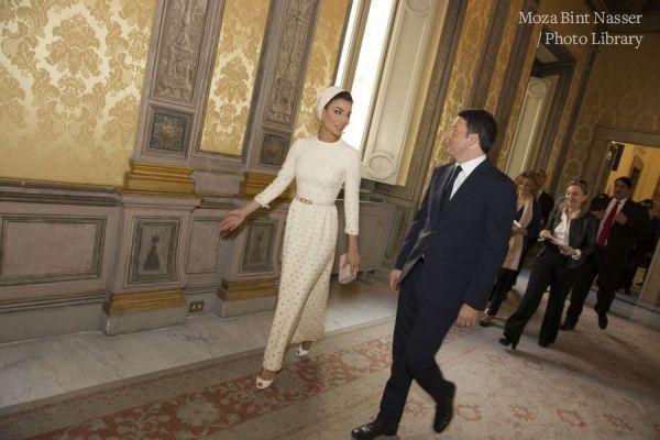 HH Sheikha Moza bint Nasser meets Italian Prime Minister Matteo Renzi