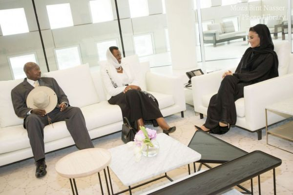 HH Sheikha Moza meets with president and first lady of Uganda
