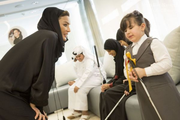 HH Sheikha Moza meets with students from Al Noor Institute.