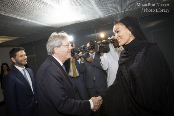 HH Sheikha Moza meets with Italian Prime Minister