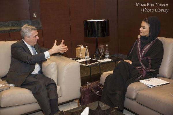 HH Sheikha Moza meeting with High Commissoner Filippo Grandi