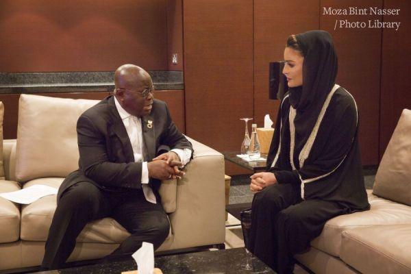صاحبة السمو الشيخة موزة تجتمع بفخامة رئيس غانا