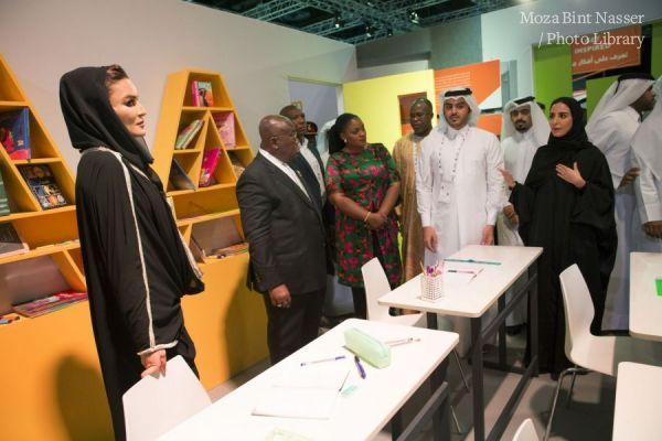 HH Sheikha Moza and President of Ghana touring the WISE Majlis