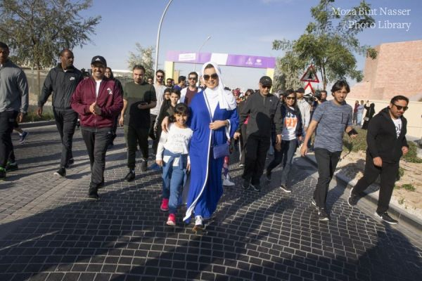 HH Sheikha Moza participates in National Sport Day activities in Qatar Foundation