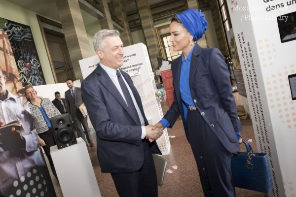 HH Sheikha Moza meets with UN High Commissioner for Refugees in Geneva