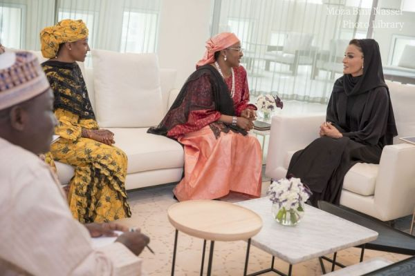 HH Sheikha Moza meets with Spouse of Nigerian President