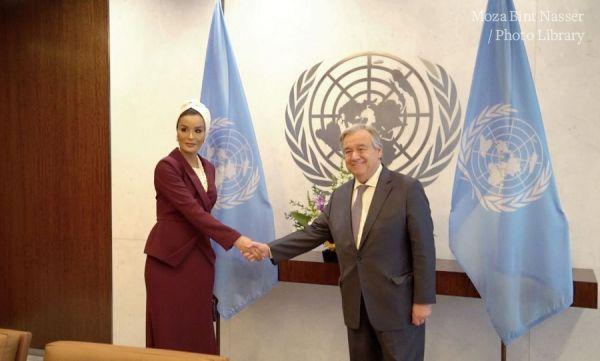 صاحبة السمو الشيخة موزا تجتمع بالأمين العام للأمم المتحدة