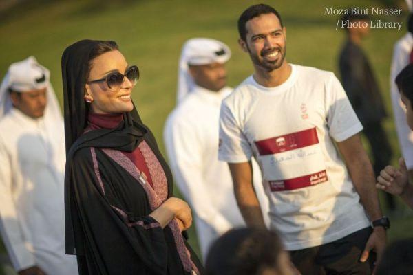 HH Sheikha Moza participates in Al Adaam Flag Relay at Education City