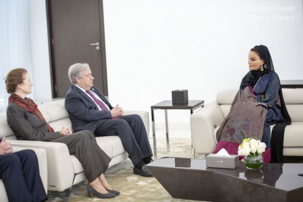 HH Sheikha Moza attends UN Secretary-General lecture at HBKU