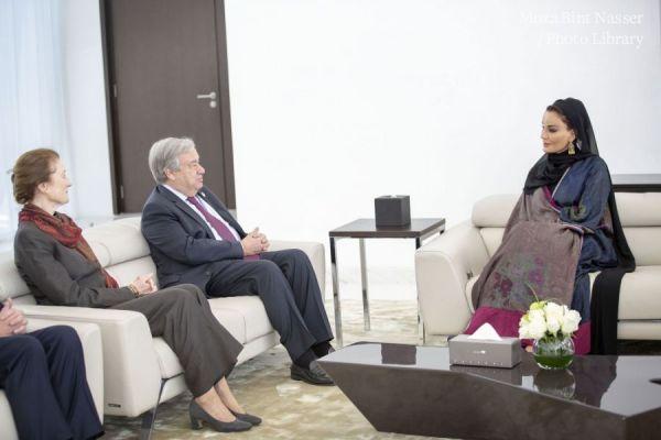 صاحبة السمو الشيخة موزا تشهد محاضرة الأمين العام للأمم المتحدة
