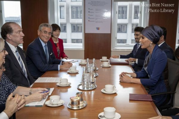 HH Sheikha Moza meets with President of World Bank Group