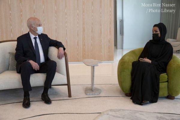 صاحبة السمو الشيخة موزا تجتمع مع فخامة الرئيس التونسي