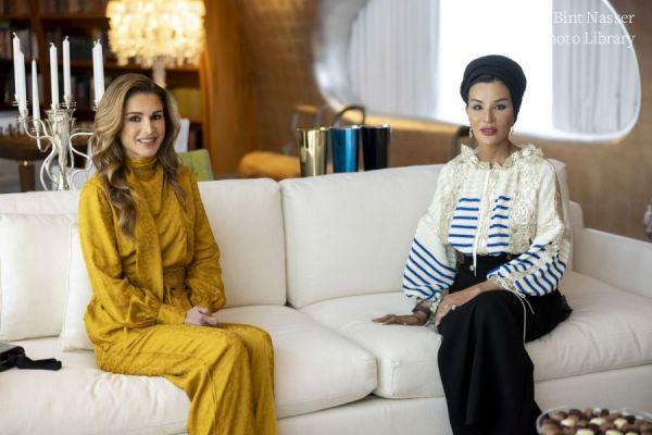 HH Sheikha Moza meets with HM Queen Rania